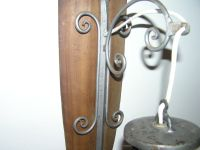 Antique Wood And Wrought Iron Wall Lamp With Glass Shade ...