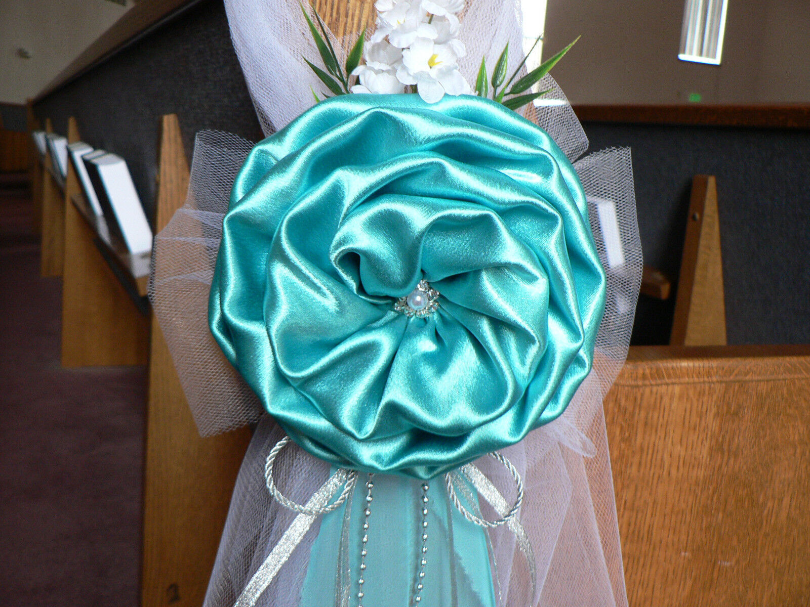 tiffany blue wedding chair covers springs for rocking chairs decor bows pew silver