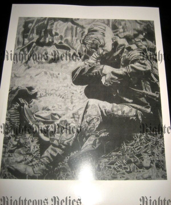 Wwii German Mg 42 Gunner Fine Art Poster Print Drawing