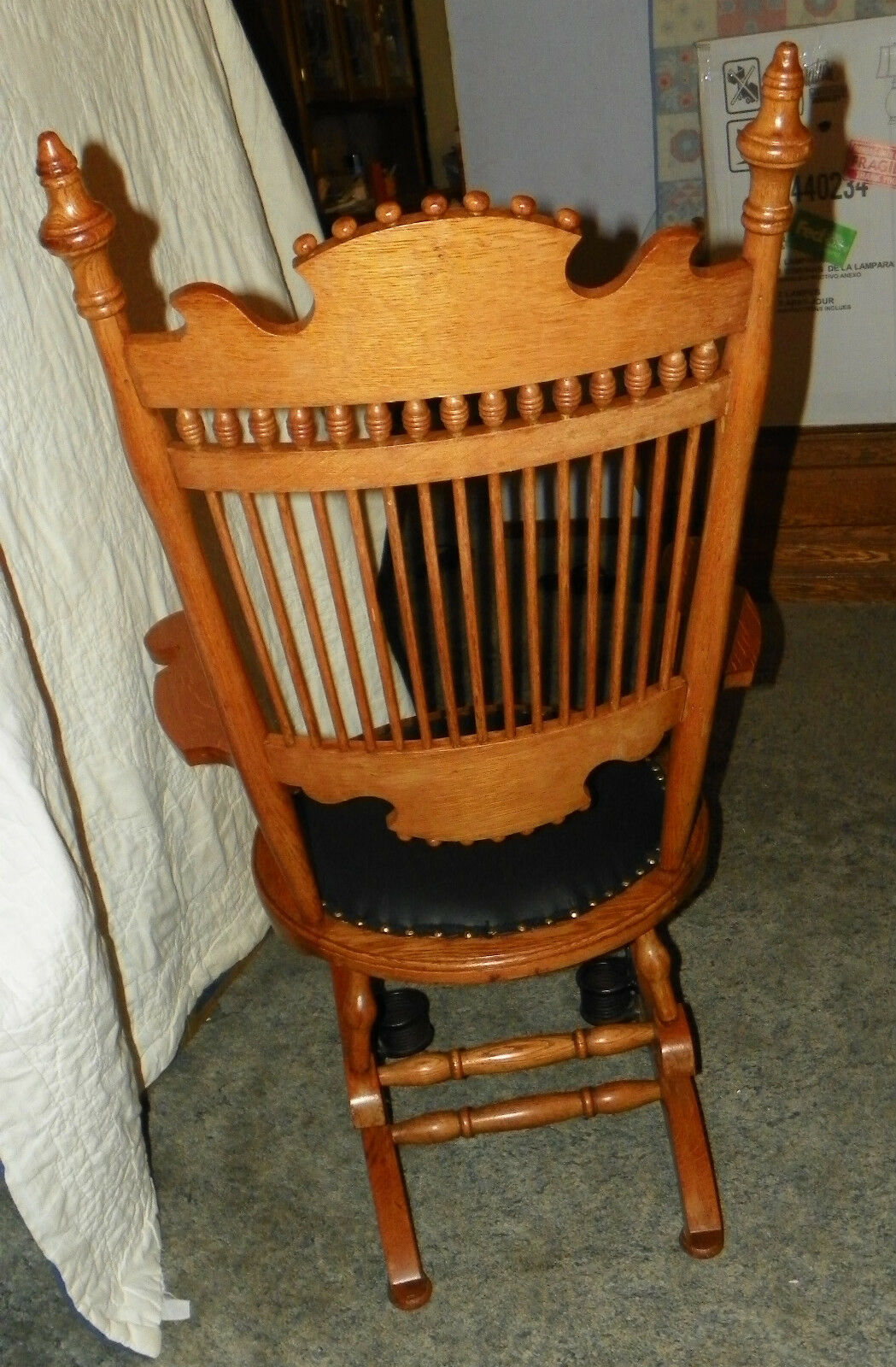 black spindle chair best high chairs oak carved back rocker rocking with