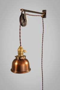 Vintage Industrial Pulley Sconce - COPPER SHADE - Wall ...
