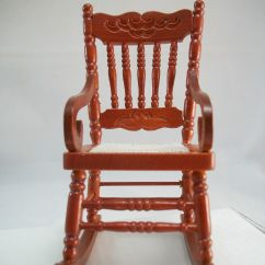 Woven Rocking Chair Blue Leather Swivel Recliner Seat 1 733 Miniature Dollhouse