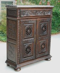 Antique French Carved Breton Brittany Jam Cabinet Bookcase ...
