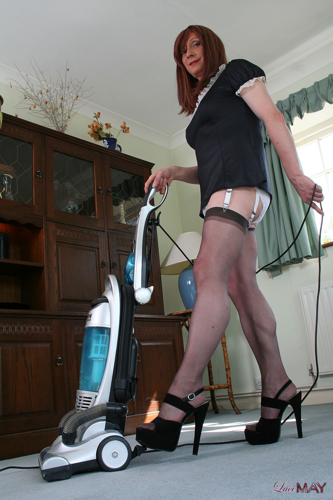 Luci May  Slutty tranny maid lucimay cleans her house in nylon stockings