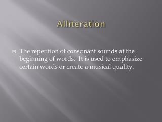 PPT What Is Alliteration? PowerPoint Presentation ID