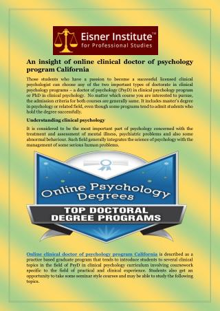 Ppt  Online Doctor Of Psychology Programs California