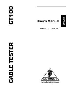 BEHRINGER CT100 MANUAL PDF