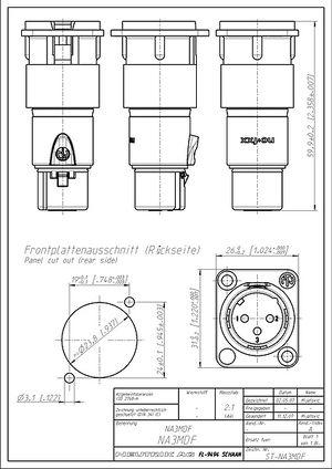 Neutrik NA3 MDF Durchgangsadapter