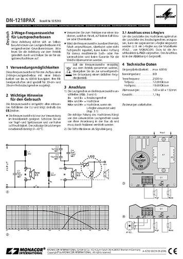 Monacor DN-1218 PAX