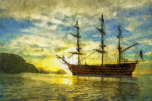 HMS Victory bij zonsondergang