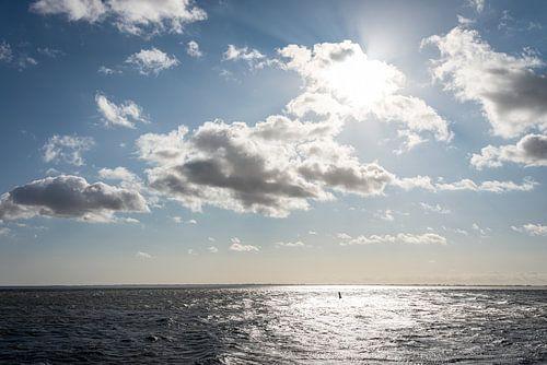 Landschap met zee, wolken en zon