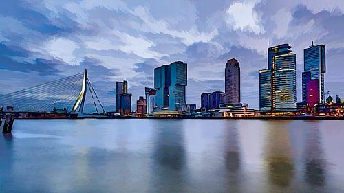 Stripboek Rotterdam met de Kop van Zuid en de Erasmusbrug