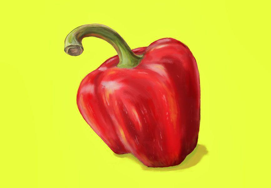 Rode paprika op geel