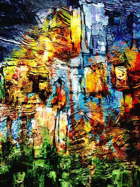 Tulpen in de zon abstract schilderwerk