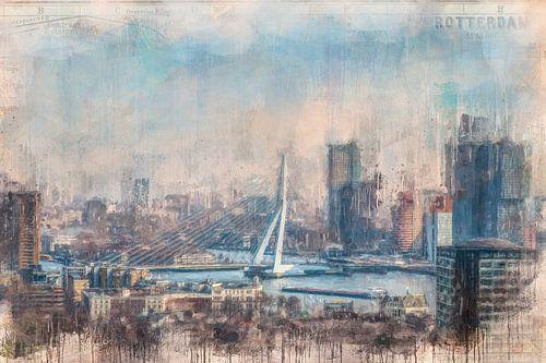 Rotterdam geschilderde Erasmusbrug