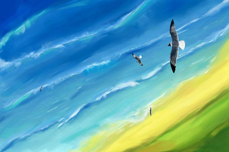 Vogel uitzicht boven zee