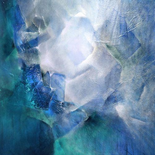 Abstrakte Komposition in weiß und türkis