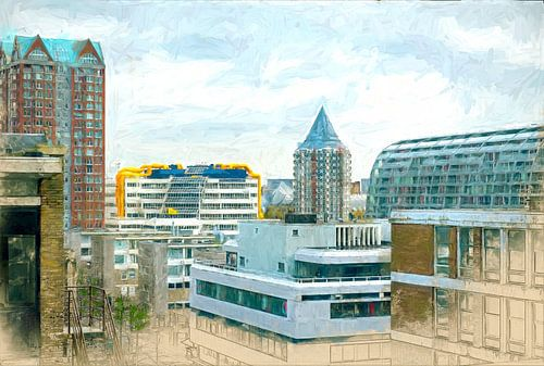 Geschilderde Rotterdamse daken II