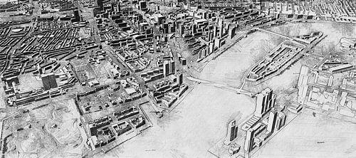 Schets Rotterdam met Kop van Zuid, Erasmusbrug, Centrum en meer.