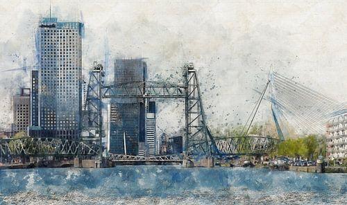 Waterverf met schets van Rotterdam met De Hef