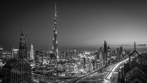 De Dubai Skyline (Black & White)