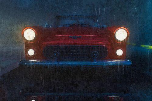 50's Geschilderde Rode Cabriolet