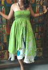 BOHO WOMENS VINTAGE SILK SARI TWO LAYER PRINTED 2 IN 1 DRESS AND MAXI SKIRTS