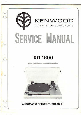 Kenwood Original KD-1600 MKII Turntable Service Manual