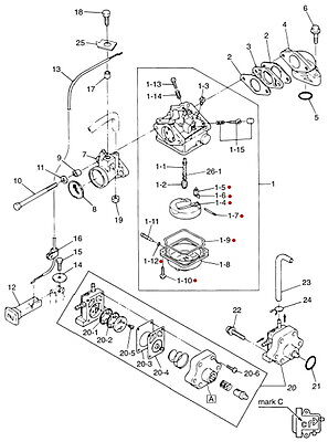 386183, Carburetor Assembly, 1976 Evinrude 4hp M#4636M