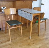 50s Formica compact folding kitchen dining table and 2 ...