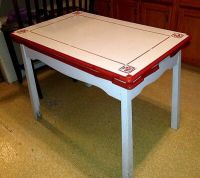 Vintage Porcelain Red & White Kitchen Table - pullout ...