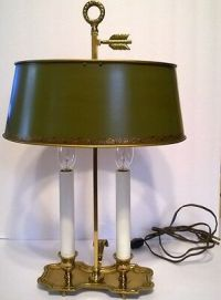 Vintage French Empire Brass Bouillotte Desk Lamp w Green
