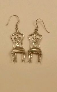 Vintage Sterling Silver Old Antique Chair Earrings Quirky ...