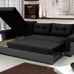 Olympus Black Leather Corner Sofa Bed With Storage Klaussner Empress Power Reclining New Fabric 43 Grey