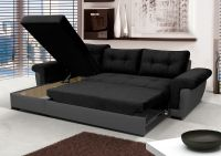 NEW Corner Sofa Bed with Storage, Black Fabric + Grey ...