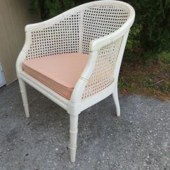 Mid Century Cane Barrel Chair Target Desks And Chairs Faux Bamboo White Hollywood Regency