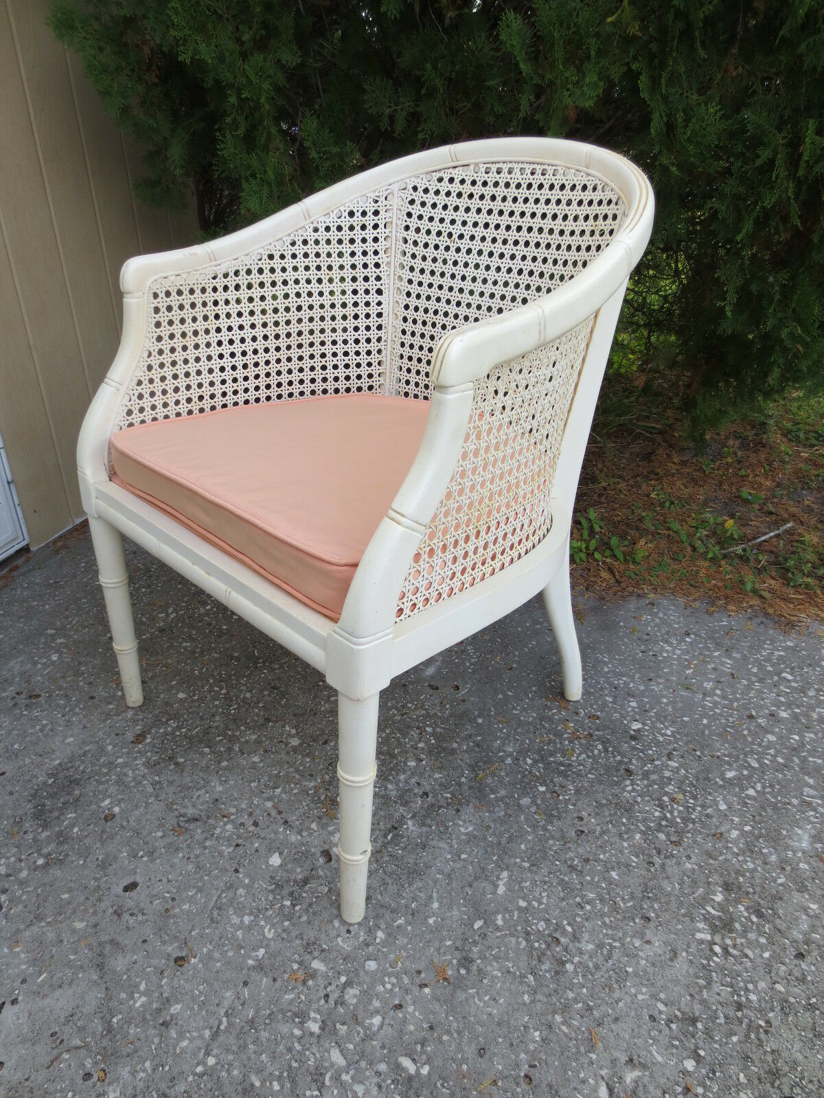 White Barrel Chair Barrel Chair Faux Bamboo White Hollywood Regency Cane Mid