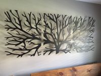 Metal Wall Art Decor 3D Sculpture 3 Piece Tree Brunch