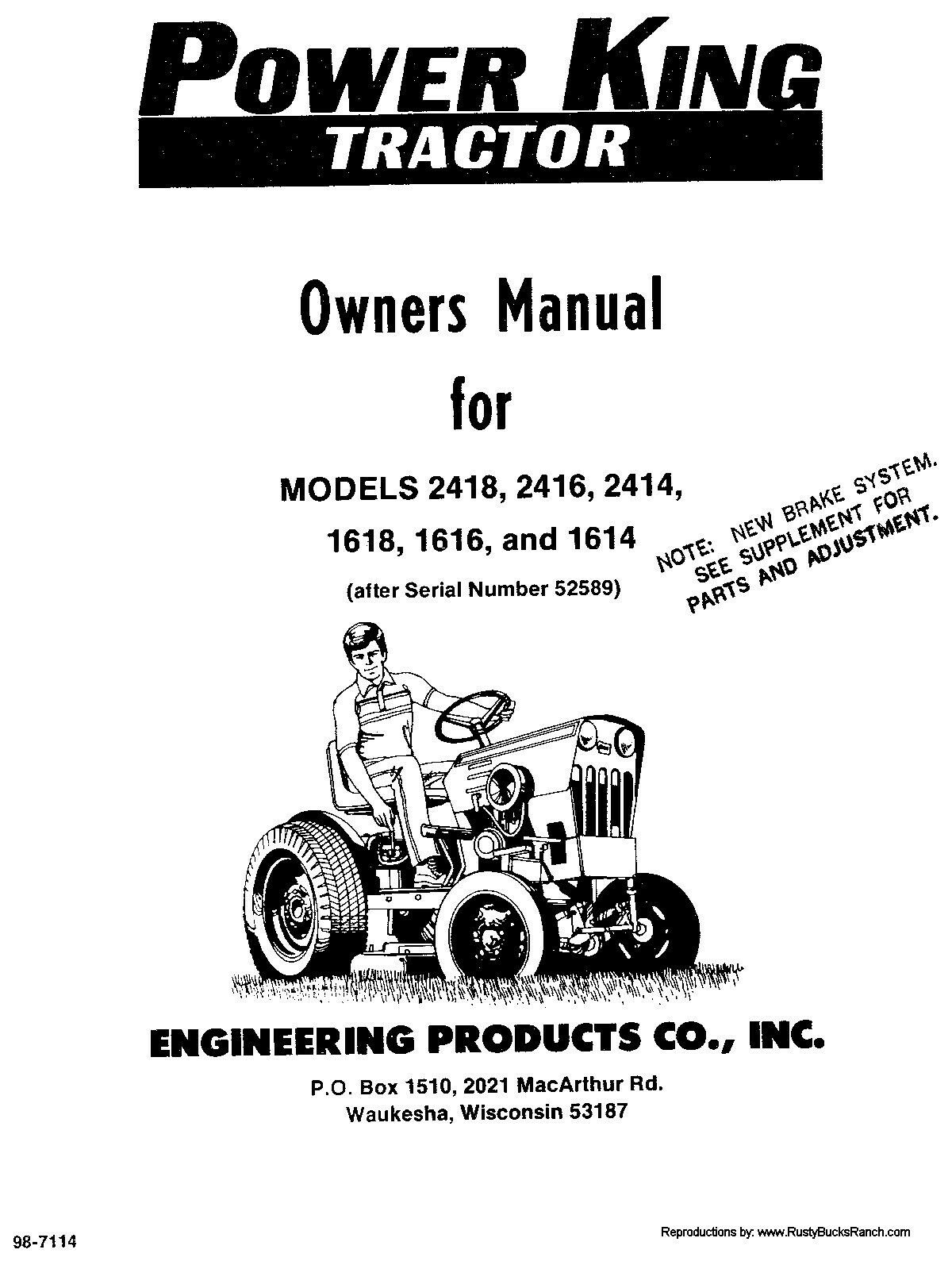 Power King Tractors Operators Manual