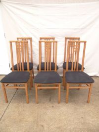 6 Danish Modern teak high back dining room side chairs set ...
