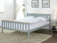 Grey Wooden Bed Frame Pine Double King Single Size Solid ...