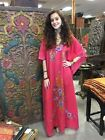 BOHEMIAN RESORT WEAR KIMONO CAFTAN HAND EMBROIDERED EVENING MAXI DRESS ONE SIZE