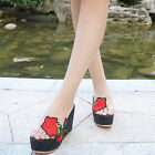 Women Slipper Mules Slippers Platform Heels Wedge Rose Flowers Shoes Street Size