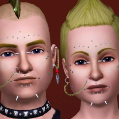 Face Piercing Diagram And Names Ez Go Mpt 1000 48 Volt Wiring Mod The Sims Pack Of Facial Piercings Plus Two Chain
