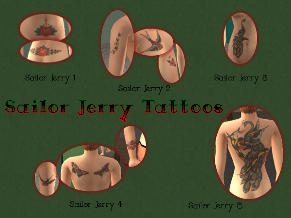 Mod The Sims - Sailor Jerry Vintage Tattoos that Really Stick!