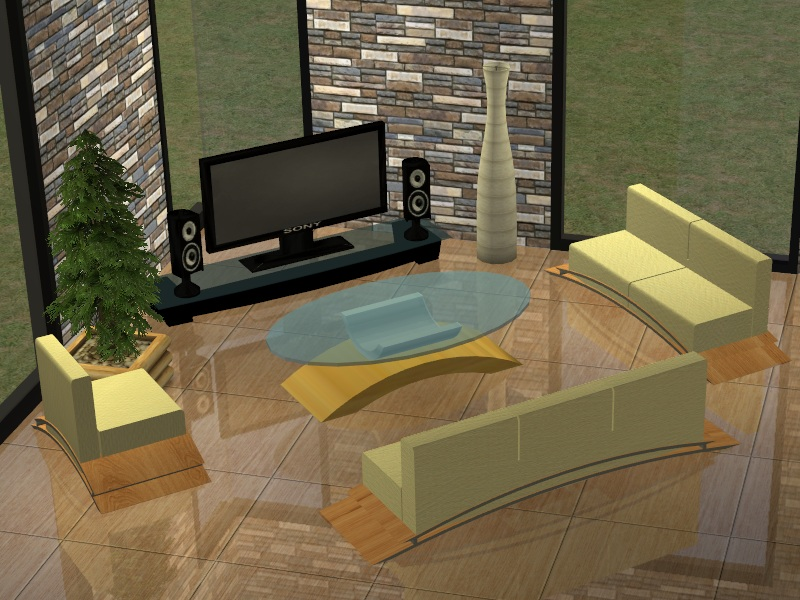 Consists Of 5 New Meshes Chair Loveseat Sofa Table And Tv 2 Recoloures Both Pictures Are Picture Suspense