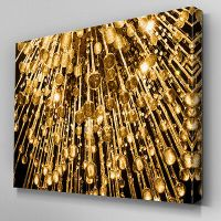 AB1013 Modern Gold Yellow Brown Canvas Wall Art Abstract ...