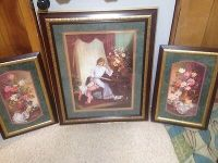 Vintage HOMCO Baskets Flowers Butterflies Framed Art Print ...