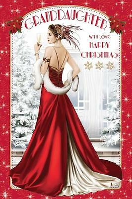 Daughter Art Deco Christmas Card Greeting 399
