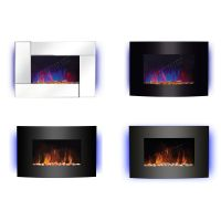 Wall Mounted Electric Fireplace Glass Heater Fire Remote ...